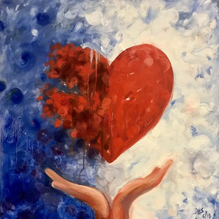 An oil painting by Dale Sprague of a heart and two hands below it