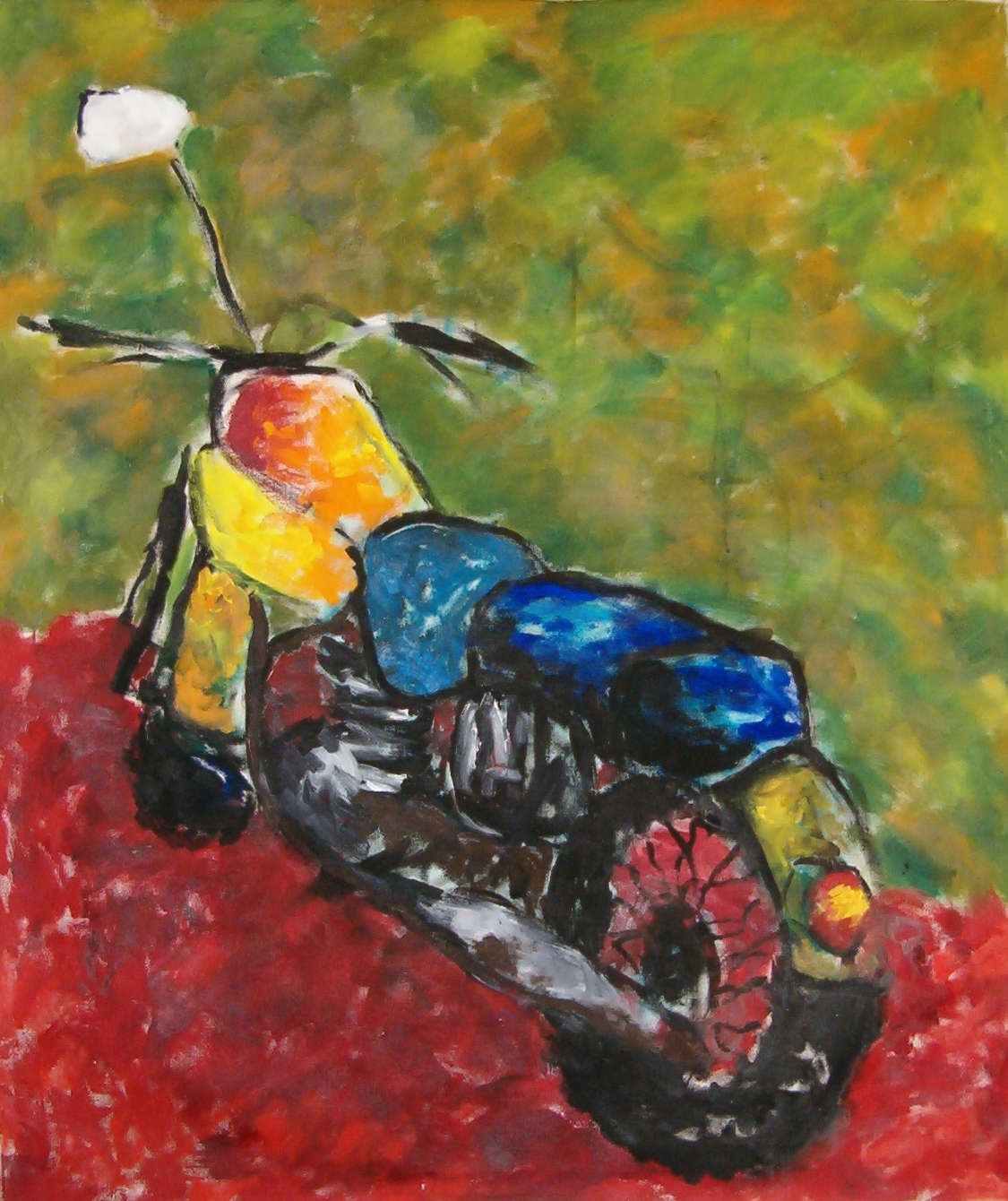 The Motorcycle painting by Dale Sprague oil on canvas done in the abstract impressionist style